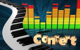 o piano 3d fecha o espectro audio Imagens de Stock Royalty Free