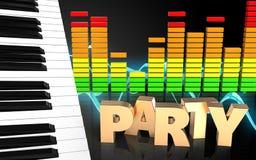 o piano 3d fecha o espectro audio ilustração stock