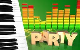 o piano 3d fecha o sinal do partido Fotografia de Stock