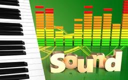o piano 3d fecha o sinal 'do som' Imagem de Stock