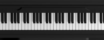 O piano fecha a vista superior, bandeira ilustração 3D Imagem de Stock