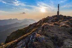 O pico de Negoiu Montanhas de Fagaras, Romania Fotos de Stock
