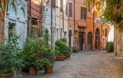 O pictiresque Rione Trastevere em uma manhã do verão, em Roma, Itália imagem de stock royalty free