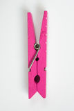 O Pin de roupa cor-de-rosa com testes padrões do divertimento lançou a vista superior Fotos de Stock Royalty Free