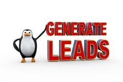 o pinguim 3d com gerencie ligações Imagens de Stock Royalty Free
