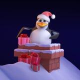 o pinguim de 3d Santa toma presentes abaixo da chaminé ilustração royalty free