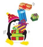 O pinguim traz o presente Fotos de Stock Royalty Free