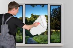 O pintor começa seu trabalho Imagens de Stock Royalty Free