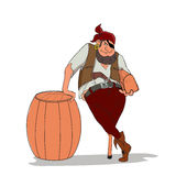 O pirata com um só olho e um-equipado com pernas que guarda a arca do tesouro Foto de Stock Royalty Free