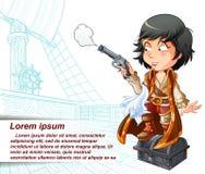 O pirata isolado vetor está levando a arma no navio de pirata ilustração do vetor
