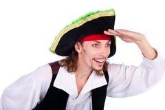 O pirata olha na distância imagem de stock