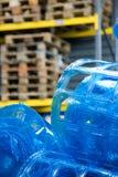 O plástico rola no armazém fotografia de stock royalty free