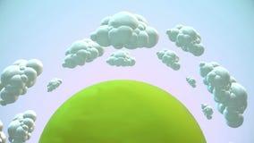 O planeta verde dos desenhos animados com voo nubla-se na manhã ilustração do vetor