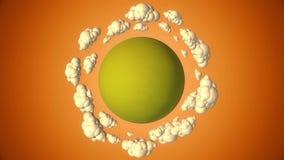 O planeta verde dos desenhos animados com voo nubla-se na noite ilustração royalty free