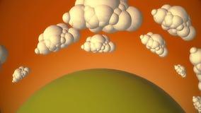 O planeta verde dos desenhos animados com voo nubla-se na noite ilustração stock