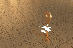 O plano aberto do ouro do Local da parte do enigma Imagens de Stock Royalty Free