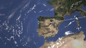 O plano chega a Porto, Portugal do leste, rendição 3D ilustração royalty free