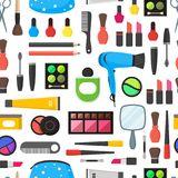 O plano compõe cosméticos das ferramentas, rímel e o fundo sem emenda do teste padrão das escovas Vetor Imagem de Stock