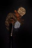 O plano cora escova com cora nele, pó fraco e o brilho cora, no fundo preto Fotografia de Stock