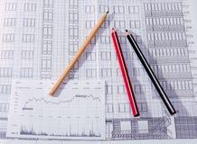 O plano da construção, lápis Fotos de Stock