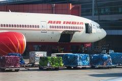 O plano da linha aérea de Air India está na carga no aeroporto de D Fotos de Stock Royalty Free