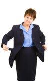 O plano da mulher de negócios quebrou imagem de stock