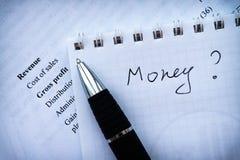 o plano de negócios, declaração de rendimentos financeira analisa o dinheiro imagem de stock