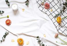 O plano do conceito coloca com flores e folhas na cobertura branca imagens de stock royalty free