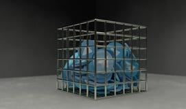 O plano do papel azul inventa na cadeia 3d rende Fotos de Stock Royalty Free