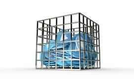 O plano do papel azul inventa no 3d isolado cadeia rende Fotografia de Stock