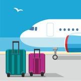 O plano, malas de viagem, gaivota, céu azul, aeroporto, bagagem, férias Fotografia de Stock Royalty Free