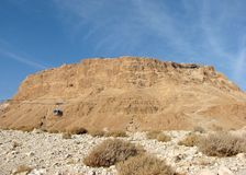 O platô rochoso no deserto de Judean chamou Masada, Israel fotografia de stock royalty free