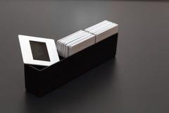 O plástico desliza a caixa dos diapositives do filme Fotografia de Stock