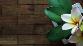 O plumeria artificial floresce no potenciômetro na tabela de madeira, vista superior Fotografia de Stock Royalty Free
