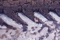 O pneu marca no solo com interior do gelo no fim do solo acima do detalhe, textura do fundo natural foto de stock royalty free