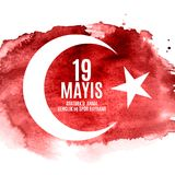 o 19o pode comemoração de Ataturk, juventude e ostenta o turco do dia fala: anma do ` u de Ataturk de 19 mayis, bayrami do spor d Imagens de Stock Royalty Free
