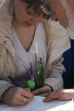 O político Evgeniya Chirikova é um ato do corte ilegal da floresta de Khimki Fotografia de Stock