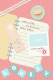 O polaroid pastel bonito do caderno e do cartão representa a parte traseira do molde ilustração royalty free