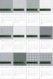 O pont e o cometa da couve coloriram o calendário geométrico 2016 dos testes padrões ilustração stock