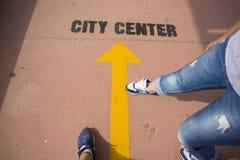 O ponteiro da navegação da cidade do centet Imagens de Stock Royalty Free