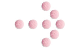 O ponteiro de seta de doces e da geleia cor-de-rosa e brancos em b branco Imagens de Stock Royalty Free