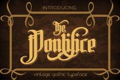 O Pontifice - fonte gótico da etiqueta do vintage Imagens de Stock Royalty Free