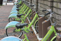 O ponto alugado da bicicleta pública em SHENZHEN, CHINA, ÁSIA Imagens de Stock Royalty Free