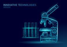 O ponto baixo das bactérias 3D do microscópio poli rende o probiotics Micro-organismo da análise do laboratório Flora saudável do ilustração royalty free