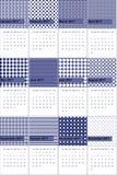 O ponto cinzento e afortunado de Waikawa coloriu o calendário geométrico 2016 dos testes padrões Imagens de Stock