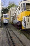 O ponto de interseção dos dois teleféricos de Lavra em Lisboa Imagem de Stock Royalty Free