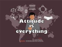 O ponto do homem de negócio à atitude é tudo palavra com negócio Fotografia de Stock