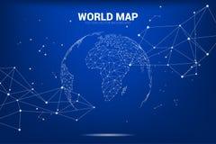 O ponto do wireframe do mapa do mundo do globo 3D conecta a linha polígono: conceito da rede de Digitas ilustração stock