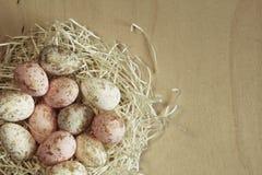 O ponto morto colore ovos da páscoa no ninho no fundo de madeira Imagens de Stock Royalty Free