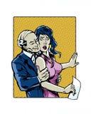 O pop art da banda desenhada ilustrou caráteres do acosso sexual e do abuso do local de trabalho Fotos de Stock